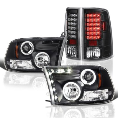 Dodge Ram 2009-2017 Black Halo Projector Headlights and LED Tail Lights