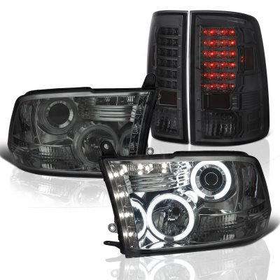 Dodge Ram 2009-2017 Smoked Halo Projector Headlights and LED Tail Lights