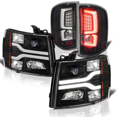 Chevy Silverado 2500HD 2007-2014 Black Tube DRL Projector Headlights Custom LED Tail Lights