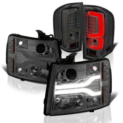 Chevy Silverado 2500HD 2007-2014 Smoked Tube DRL Projector Headlights Custom LED Tail Lights