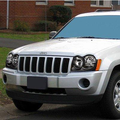 Jeep Grand Cherokee 2005 2007 Black Headlights