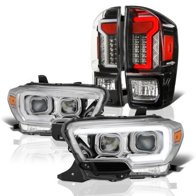Toyota Tacoma 2016 2018 Drl Projector Headlights Black Led
