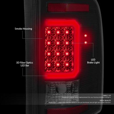 Chevy Silverado 2500HD 2007-2014 Black Smoked LED Tail Lights C-Tube