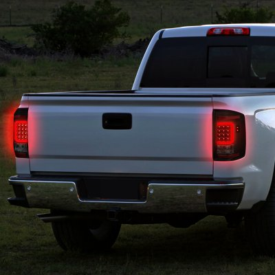 Chevy Silverado 2500HD 2007-2014 Black Smoked LED Tail Lights C-Tube