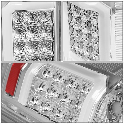 Chevy Silverado 2500HD 2007-2014 Clear LED Tail Lights C-Tube