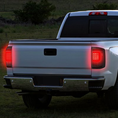 Chevy Silverado 2500HD 2007-2014 Smoked LED Tail Lights C-Tube