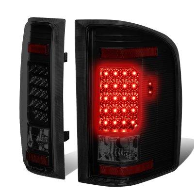 Chevy Silverado 2500HD 2007-2014 Black Smoked LED Tail Lights