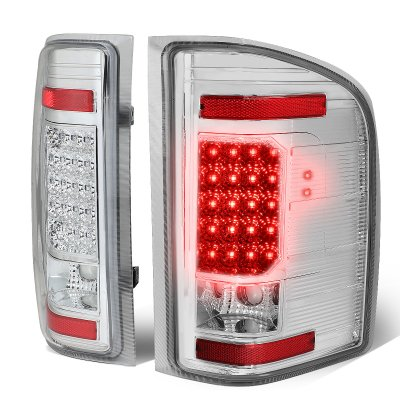 Chevy Silverado 2500HD 2007-2014 Clear LED Tail Lights