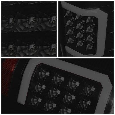 Chevy Silverado 2500HD 2007-2014 Black Smoked LED Tail Lights Red C-Tube
