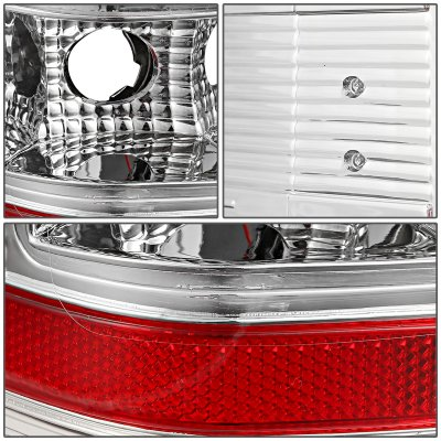 Chevy Silverado 2500HD 2007-2014 Clear LED Tail Lights Red C-Tube