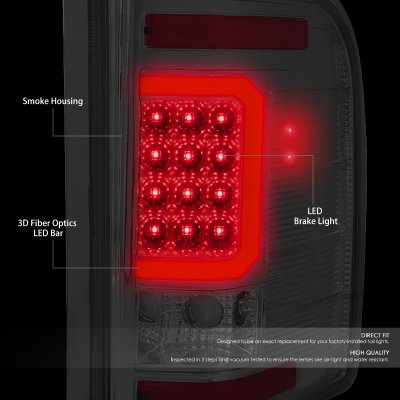 Chevy Silverado 2500HD 2007-2014 Smoked LED Tail Lights Red C-Tube