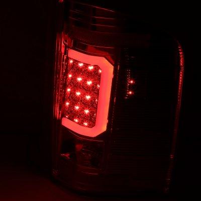 Chevy Silverado 2500HD 2007-2014 Smoked LED Tail Lights Red C-Tube