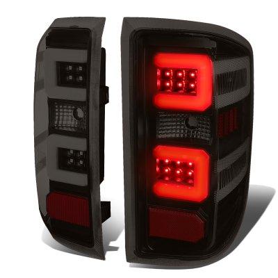 Chevy Silverado 2500HD 2015-2019 Black Smoked LED Tail Lights C-Tube