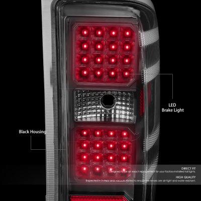 Chevy Silverado 2500HD 2015-2019 Black LED Tail Lights
