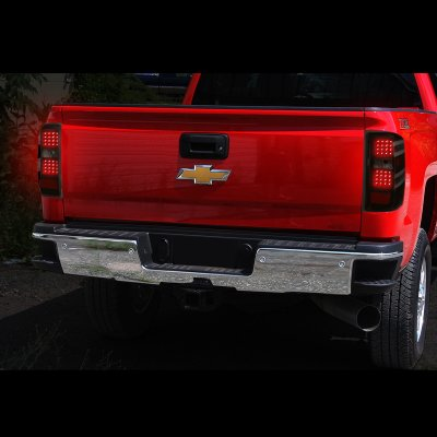 Chevy Silverado 2500HD 2015-2018 Black Smoked LED Tail Lights