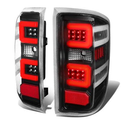 Chevy Silverado 2014-2018 Black LED Tail Lights Red C-Tube