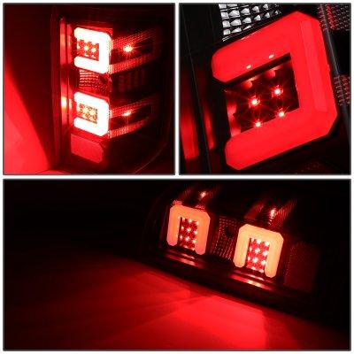 Chevy Silverado 2014-2018 Black Smoked LED Tail Lights Red C-Tube