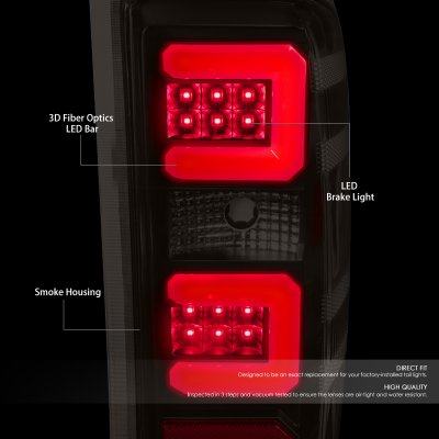 Chevy Silverado 2500HD 2015-2019 Black Smoked LED Tail Lights Red C-Tube