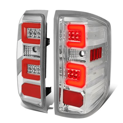 Chevy Silverado 2014-2018 Clear LED Tail Lights Red C-Tube