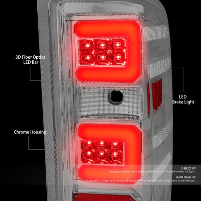 Chevy Silverado 2500HD 2015-2018 Clear LED Tail Lights Red C-Tube
