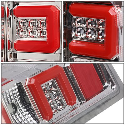 Chevy Silverado 2500HD 2015-2019 Clear LED Tail Lights Red C-Tube