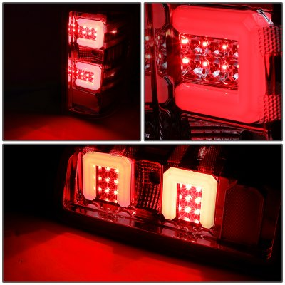 Chevy Silverado 2014-2018 Smoked LED Tail Lights Red C-Tube