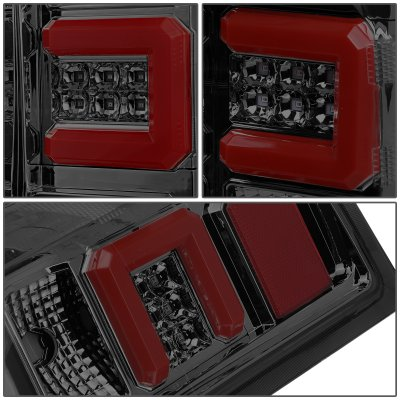 Chevy Silverado 2500HD 2015-2018 Smoked LED Tail Lights Red C-Tube