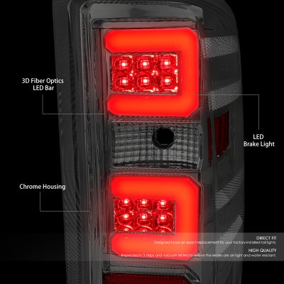 Chevy Silverado 2500HD 2015-2019 Smoked LED Tail Lights Red C-Tube