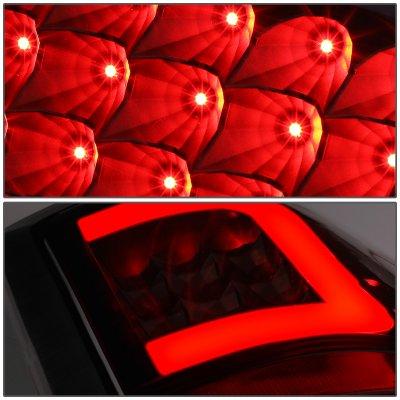 Dodge Ram 2009-2017 Black Smoked LED Tail Lights C-Tube