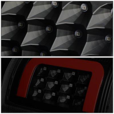 Dodge Ram 2009-2018 Black Smoked LED Tail Lights Red C-Tube
