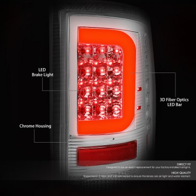 Dodge Ram 2009-2017 Clear LED Tail Lights Red C-Tube