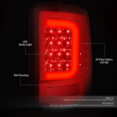 Dodge Ram 2009-2018 LED Tail Lights Red C-Tube