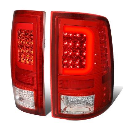 Dodge Ram 2500 2010-2018 LED Tail Lights Red C-Tube