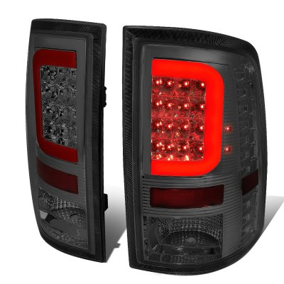 Dodge Ram 2009-2017 Smoked LED Tail Lights Red C-Tube