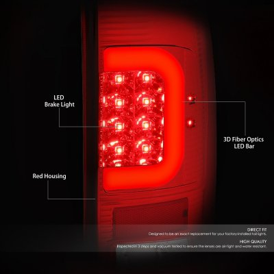Ford F450 Super Duty 2008-2016 LED Tail Lights Red C-Tube