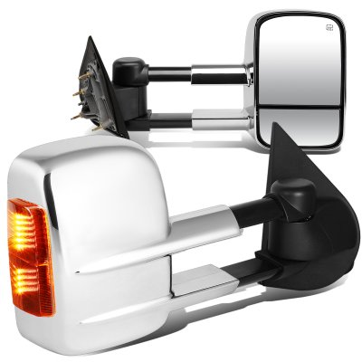 Chevy Silverado 3500HD 2015-2017 Chrome Towing Mirrors Power Heated Signal Lights