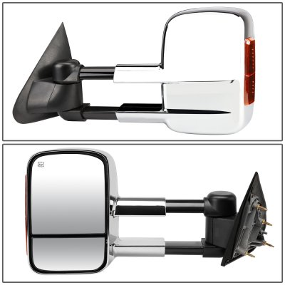 Chevy Silverado 3500HD 2015-2018 Chrome Towing Mirrors Power Heated Signal Lights