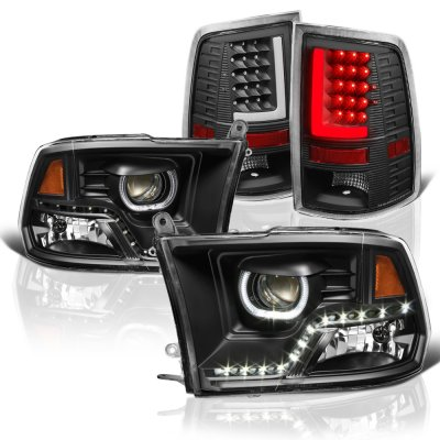 Dodge Ram 2009 2017 Black Led Drl Projector Headlights Tail Lights