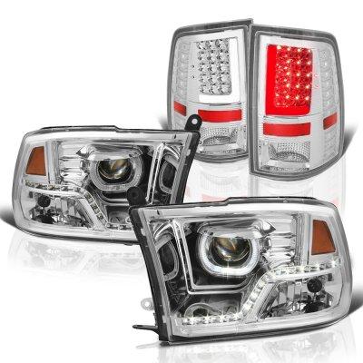 Dodge Ram 2009-2018 LED DRL Projector Headlights Chrome LED Tail Lights Tube