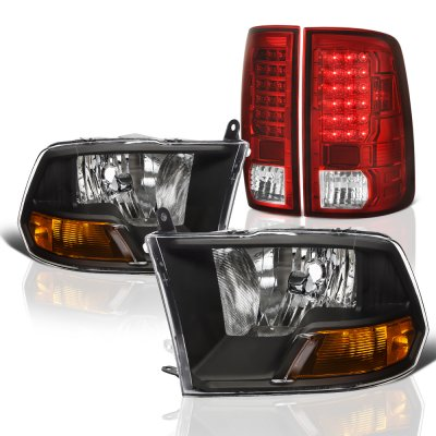Dodge Ram 2009-2018 Black Headlights Red LED Tail Lights