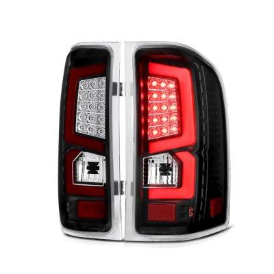 Chevy Silverado 2007-2013 Custom LED Tail Lights Black Red
