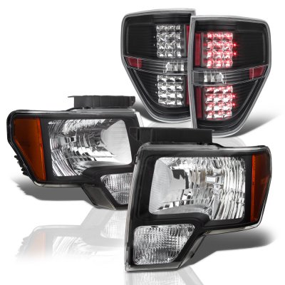 Ford F150 2009-2014 Black Headlights and LED Tail Lights