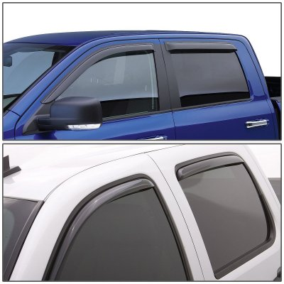 Ford F250 1999-2015 Super Duty, SuperCrew Cab Tinted Side Window Visors Deflectors