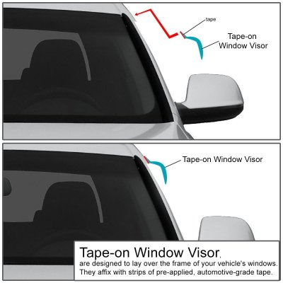 Ford F250 1997-1999 Super Cab Tinted Side Window Visors Deflectors