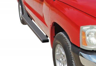 Dodge Dakota Quad Cab 2005-2011 iBoard Running Boards Black Aluminum 4 Inch