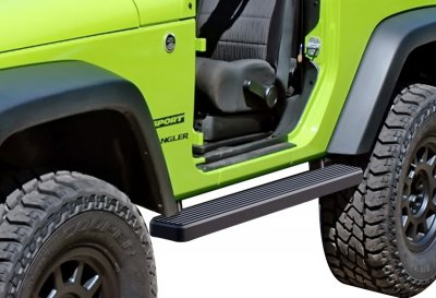 Jeep Wrangler JK 2-Door 2007-2018 iBoard Running Boards Black Aluminum 4 Inch