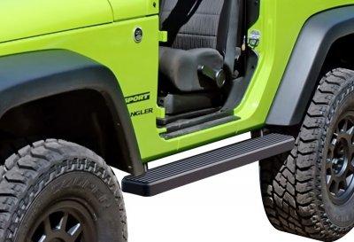 Jeep Wrangler JK 2-Door 2007-2018 iBoard Running Boards Black Aluminum 4 Inch