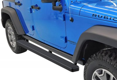Jeep Wrangler JK 4-Door 2007-2018 iBoard Running Boards Black Aluminum 4 Inch