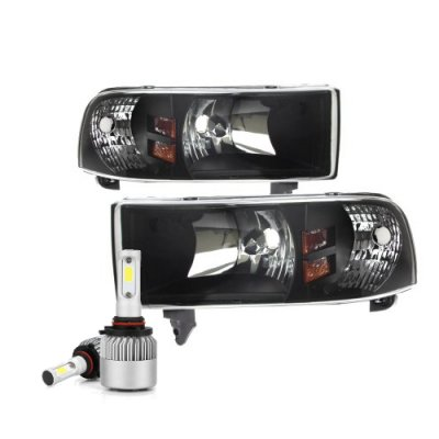 Dodge Ram 1994-2001 Black Headlights LED Bulbs Kit