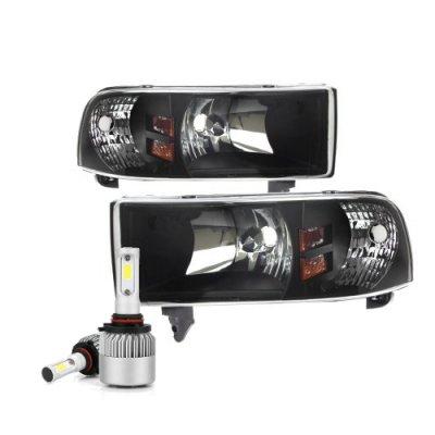 Dodge Ram 2500 1994-2002 Black Headlights LED Bulbs Kit